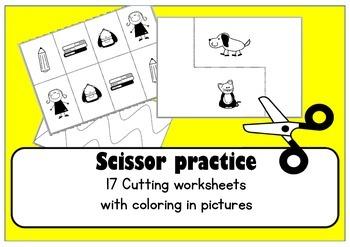 Scissor skills cutting practice worksheets for Preschool & OT