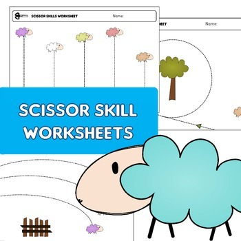 "Scissor skills cutting practice worksheets ""happy sheep"" f"