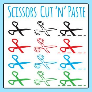 Scissors Symbols - Cut and Paste Icons Clip Art for Commer