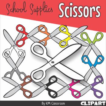 Scissors in Rainbow Colors - Clip Art