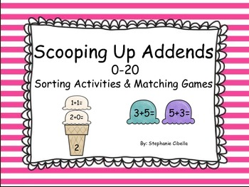 Addition Concepts Scooping Up Addends 0-20 GO MATH! Sortin