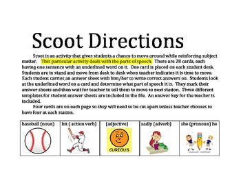 Scoot Activity for Parts of Speech