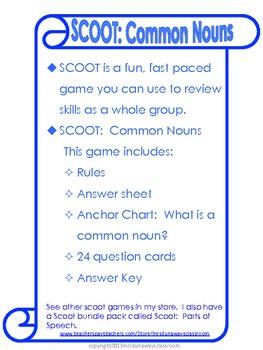 Scoot:  Common Nouns