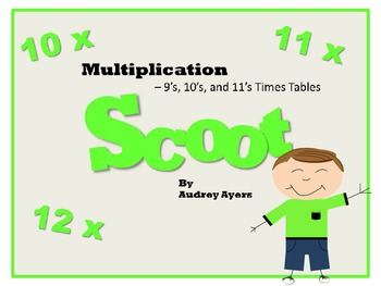 Scoot! Game with Multiplication Fact Families 10's, 11's,