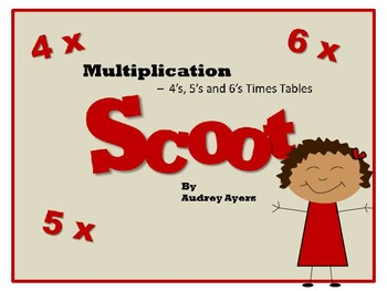 Scoot! Game with Multiplication Fact Families 4's, 5's, and 6's