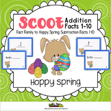 Spring Activities-Scoot Addition 1-10 on Cute Bunny Cards