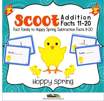 Spring Activities-Scoot Addition 11-20 on Cute Chick Cards