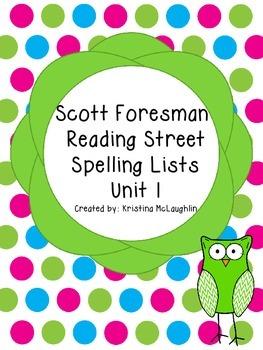 Scott Foresman Reading Street Spelling Lists Unit 1