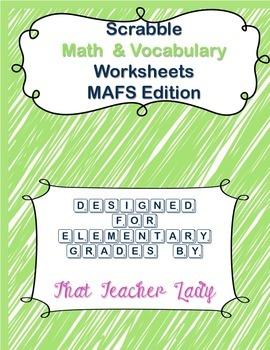 Scrabble Math & Vocabulary Worksheets MAFS/CCSS K-3 (Scrab