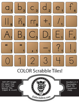 Scrabble Tiles Clip Art - full color, Spanish, numbers + extras!