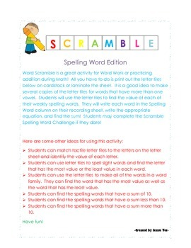 Scramble Spelling Word Game