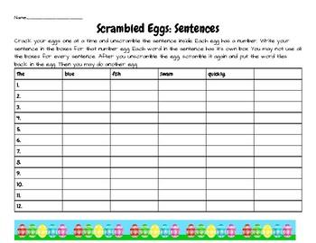 Scrambled Eggs: Sentence Building