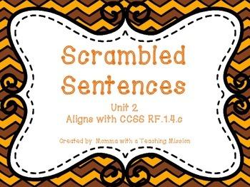 Scrambled Sentences CCSS RF.1.4.c , RF.K.4 , RF.2.4.