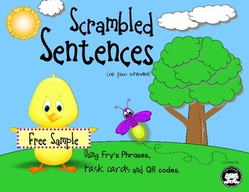 Scrambled Sentences… Using Fry's Phrases, task cards and Q