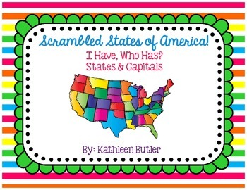 State and Capital Game Scrambled States of America I Have