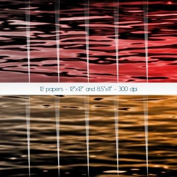 Scrapbook Paper Album Texture 12x12 + 8.5x11 Inch Water Sc