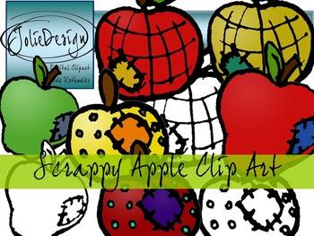 Scrappy Apple Clip Art - Color and Line Art