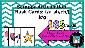 Scrappy Articulation and Phonology Flash Cards: f v ch sh j k g
