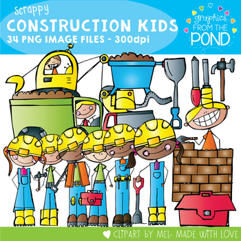 Scrappy Construction Kids - Clipart for Teachers