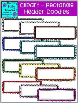 Clipart - Doodle Scalloped Header Frames - 48 images