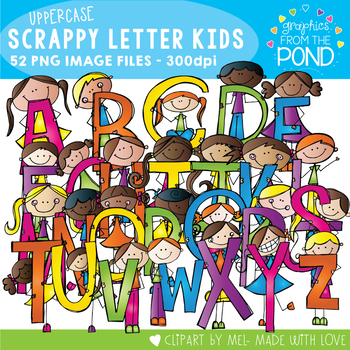 Scrappy Letters of the Alphabet Kids - Uppercase