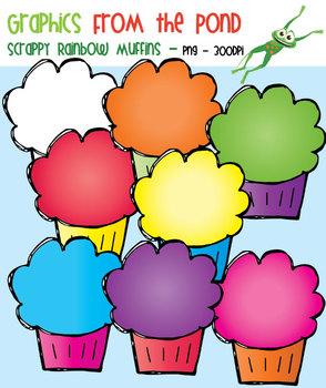 Scrappy Rainbow Muffins Clipart