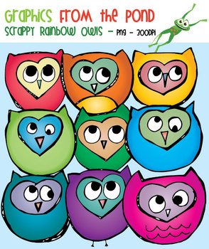 Scrappy Rainbow Owls Clipart