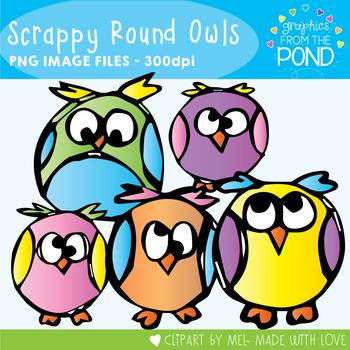 Scrappy Round Owls Clipart