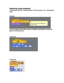 Scratch: Explaining Scripts Worksheet