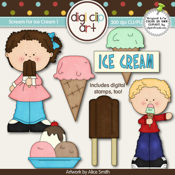 Scream For Ice Cream 1-  Digi Clip Art/Digital Stamps - CU