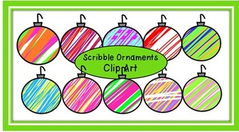 Scribble Christmas Ornaments Clip Art