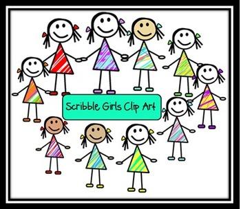Scribble Girls Clip Art