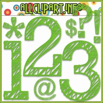 Scribble Numbers & Symbols (Green)