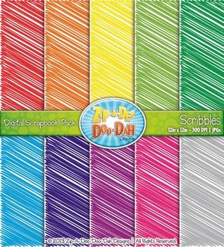 Scribbles Digital Scrapbook Pack — Rainbow (10 Pages)