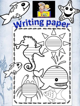 Ocean Themed - Sea - Writing Paper - black and white