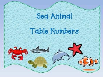 Sea Animal/Ocean Theme Table Numbers