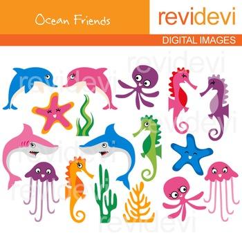 Sea Animals Clip art (dolphin, shark, sea horse, jellyfish