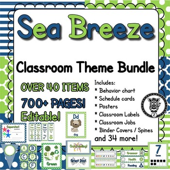 Classroom Theme Decor / Organization - Mega Bundle - Sea Breeze