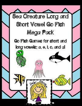 Sea Creature Long and Short Vowel Go Fish Mega Pack