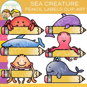 Sea Creature Pencil Labels Clip Art