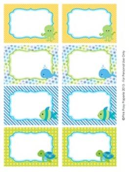 Sea Creatures Classroom Decor Bin Tag Labels