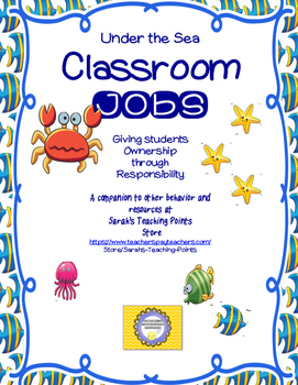 Sea Creatures Classroom Jobs and Routines-- Teacher Organi