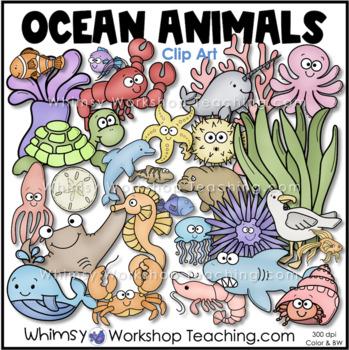 Sea Creatures Clip Art Bundle (72 Graphics) Whimsy Worksho