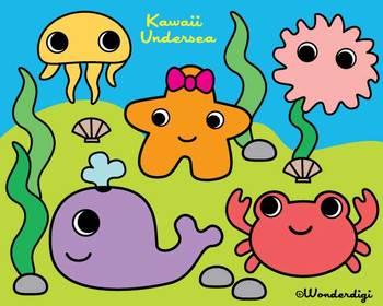 Sea Creatures Clip Art - Colorful Kawaii Under the Sea Set