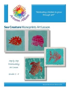 Sea Creatures Monoprint Art Lesson