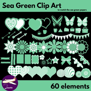 Sea Green Clip Art Decoration Scrapbooking Elements - 60 items