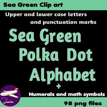 Sea Green Polka Dot Alphabet Clip Art + Numerals, Punctuat
