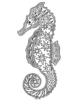 Sea Horse Zentangle Coloring Page