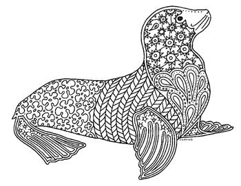 Sea Lion Zentangle Coloring Page