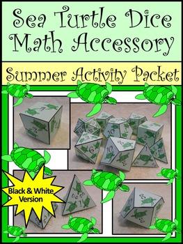 Sea Turtle Math: Sea Turtle Dice Templates Summer Math Cen